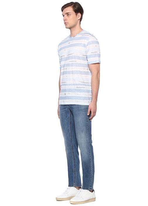 Mavi Bisiklet Yaka Çizgili Desenli Keten T-shirt