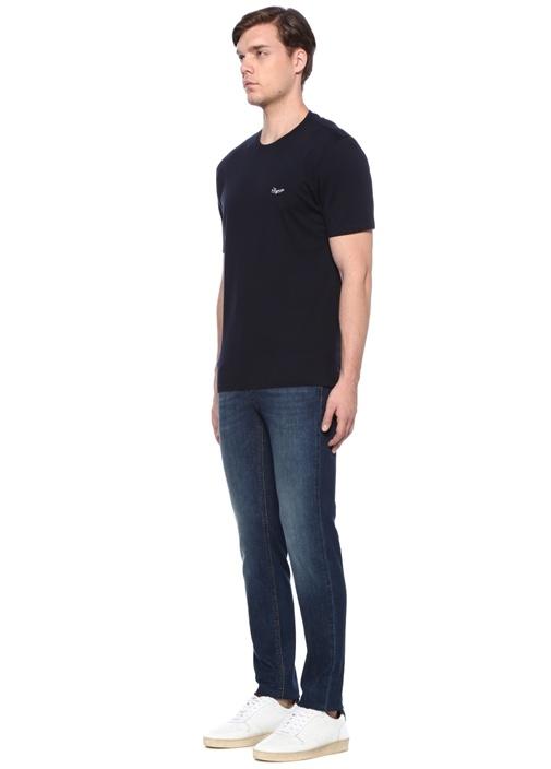 Lacivert Bisiklet Yaka Logo Nakışlı Basic T-shirt