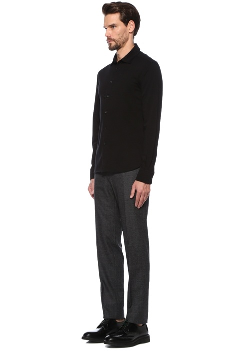Siyah Polo Yaka Düğme Kapatmalı Sweatshirt