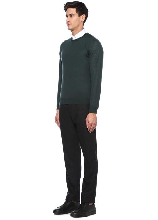 Slim Fit Siyah Dokulu Yün Pantolon