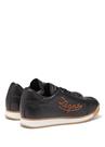 Siyah Logo Nakışlı Erkek Deri Sneaker