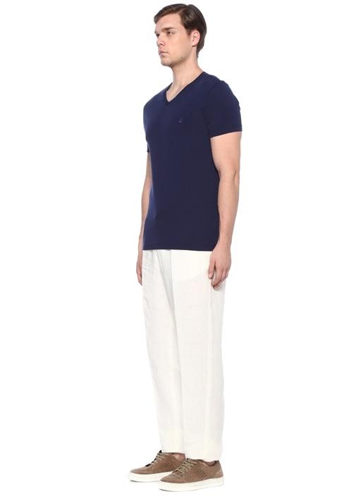 Drop S Beyaz 4 Cepli Keten Pantolon