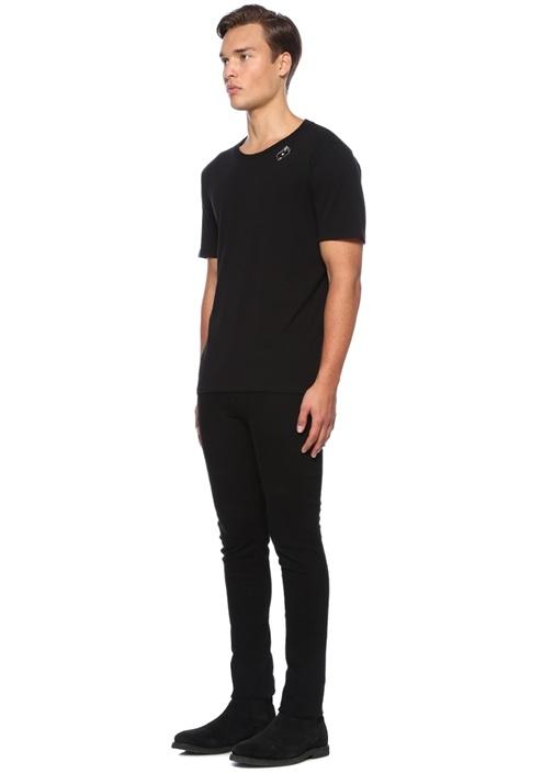 Siyah İskanbil Kağıdı Baskılı Basic T-shirt