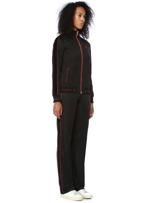 Kırmızı Siyah Yüksek Bel Şeritli Pantolon