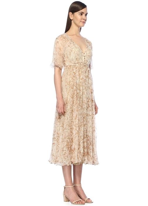 Temple Bej Çiçekli Midi Şifon Elbise