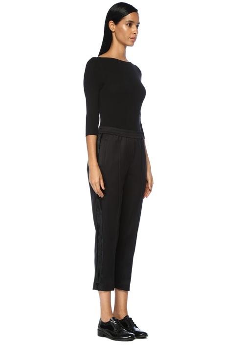 Siyah Yüksek Bel Saten Şeritli Yün Pantolon