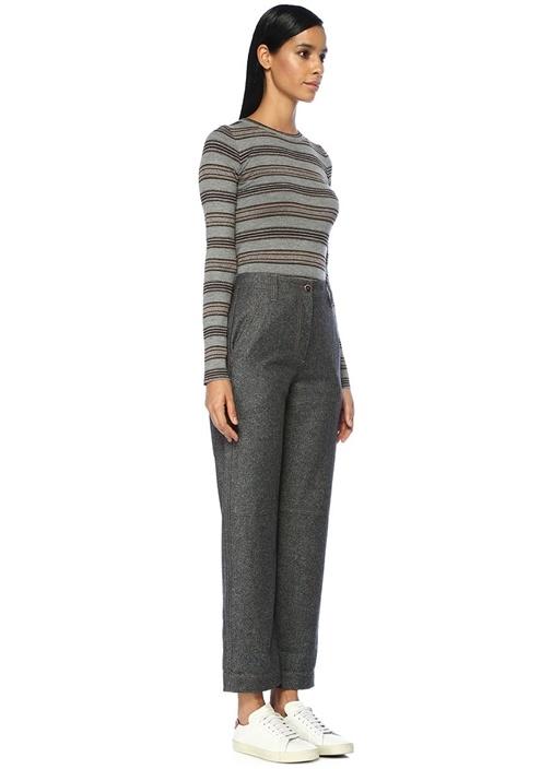 Füme Yüksek Bel Dikiş Detaylı Yün Pantolon