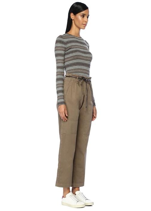 Haki Yüksek Bel Bağcıklı Boru Paça Pantolon