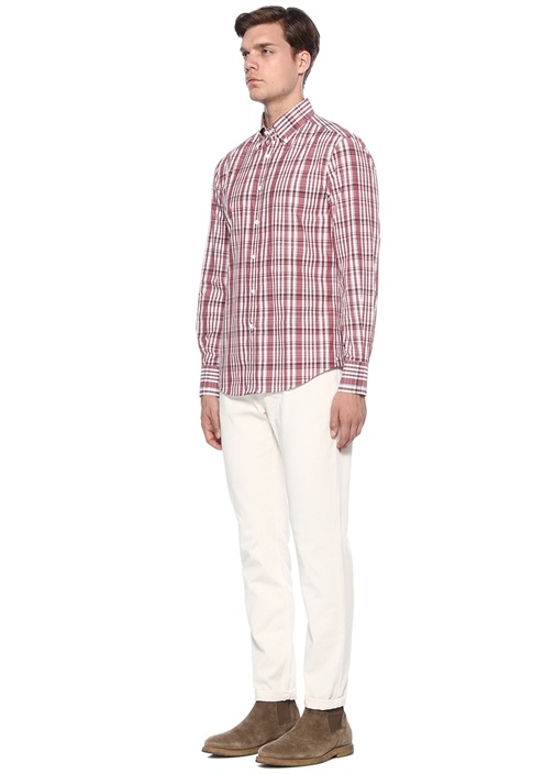 Slim Fit Beyaz Pembe Ekose Desenli Gömlek