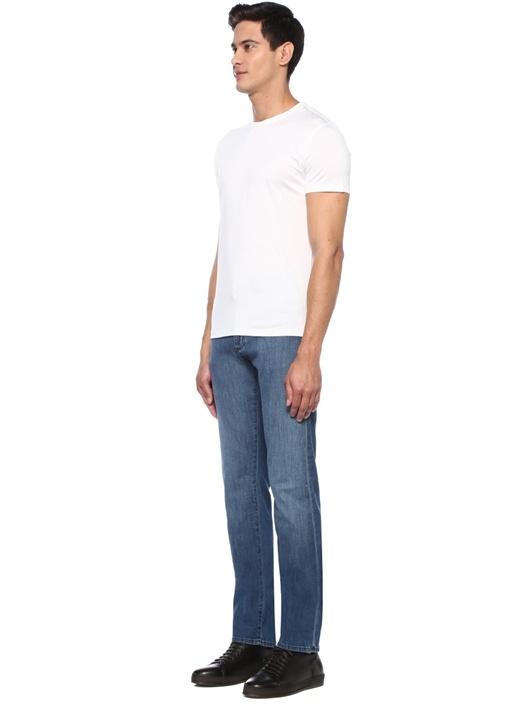Beyaz Bisiklet Yaka Basic İpek T-shirt