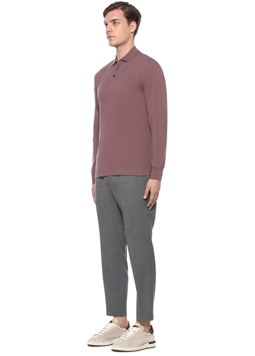 Lila Polo Yaka Düğme Kapatmalı Sweatshirt