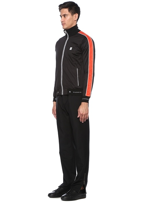 Siyah Kolları Kadife Şeritli Dik Yaka Sweatshirt