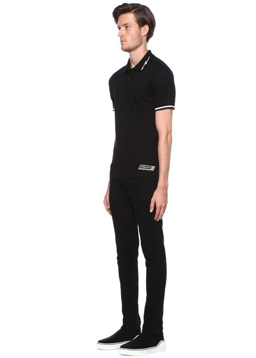 Siyah Polo Yaka Dokulu Ok Jakarlı T-shirt