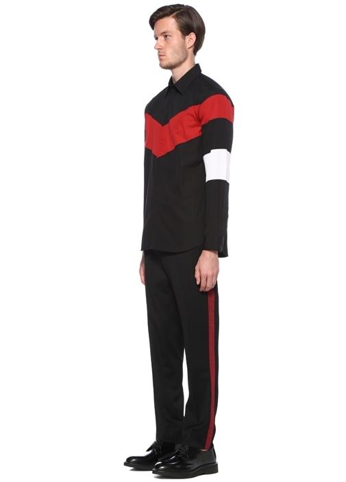 Siyah Kırmızı Şeritli İngiliz Yaka Gömlek