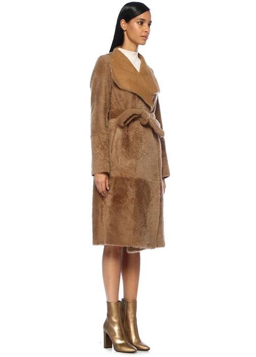 Kahverengi Çift Taraflı Shearling Palto