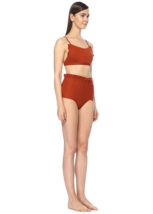 Feline Kiremit Fırfırlı Ribli Bikini Üstü