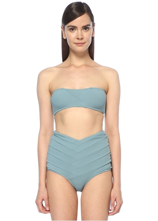 Puzzle Mavi Straplez Ribli Bikini Üstü