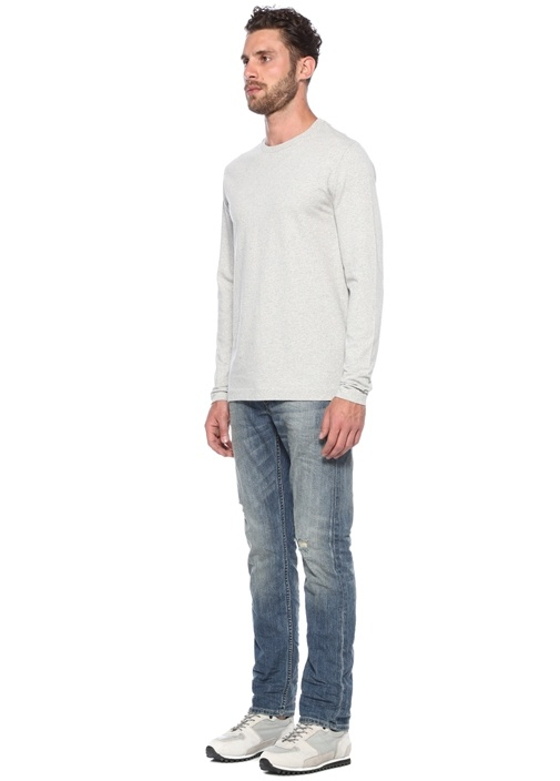 Monta Oversized Fit Gri Melanj Basic T-shirt