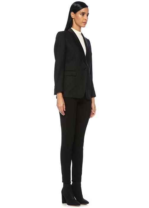 Brisa Tux Siyah Şal Yaka Tek Düğmeli Yün Ceket