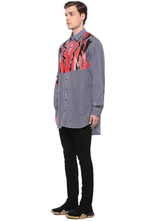 Lacivert Kareli Baskı Detaylı Gömlek