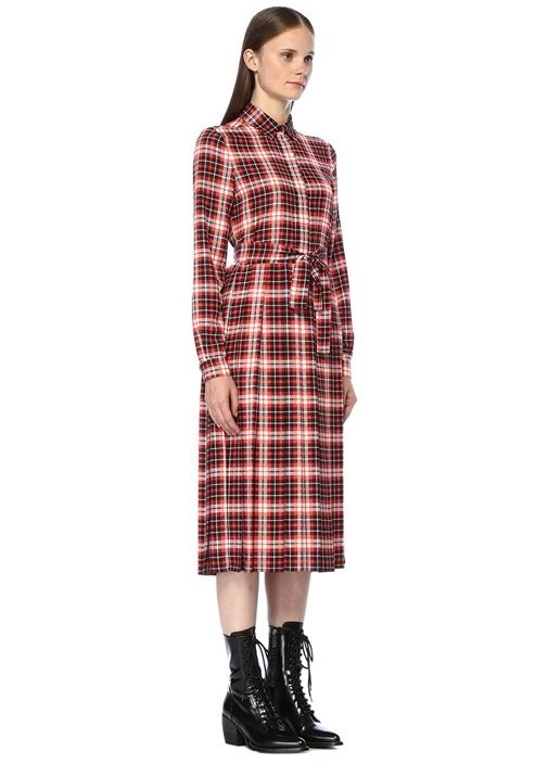 Kırmızı İngiliz Yaka Ekoseli Pileli Midi Elbise