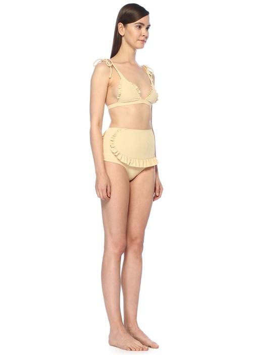 Traveler Bej Omzu Bağlı Fırfırlı Üçgen Bikini Üstü