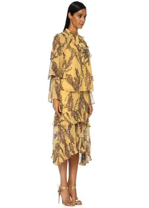 Light Up Sarı Çiçekli Yakası Bağlı Fırfırlı Bluz