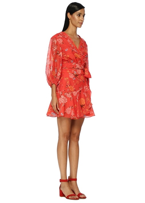 Flicker Kırmızı Anvelop Yaka Çiçek Desenli Bluz
