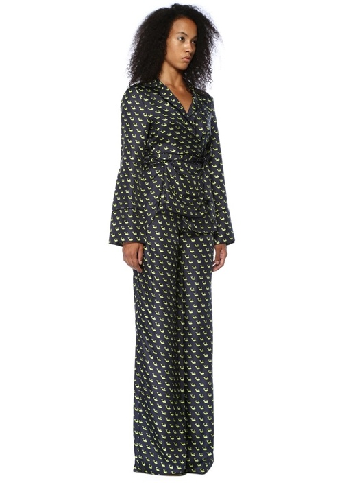 Lacivert Balina Baskılı İpek Pijama Pantolon