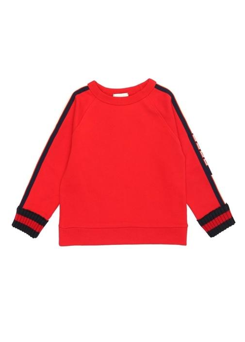 Kırmızı Kolları Şeritli Erkek Çocuk Sweatshirt