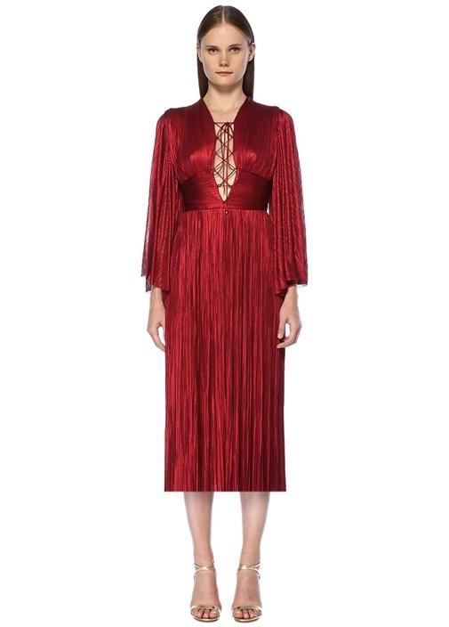 Edda Kırmızı Yakası Bağlı Midi İpek Kokteyl Elbise