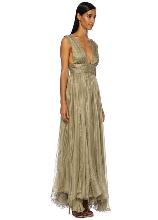 Marilu Bej V Yaka Drapeli Maksi İpek Abiye Elbise