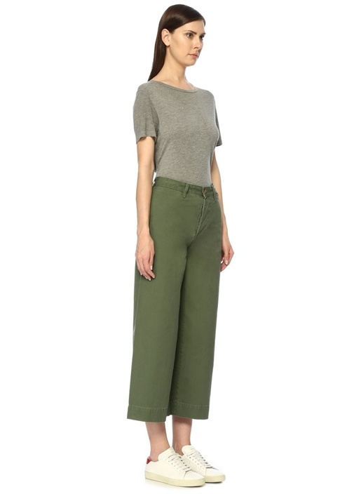 Haki Yüksek Bel Bol Paça Crop Pantolon