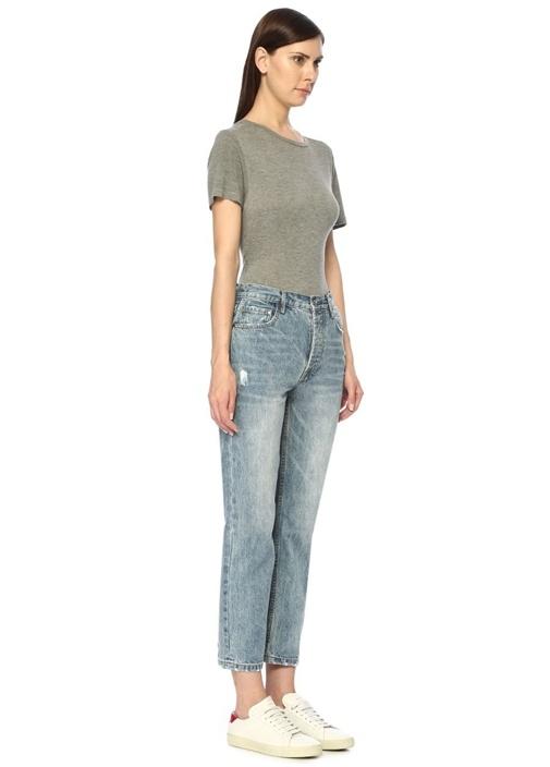 Oxford Yüksek Bel Boru Paça Crop Jean Pantolon