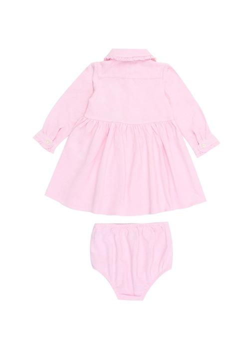 Solid Pembe Fırfır Detaylı Kız Bebek Elbise