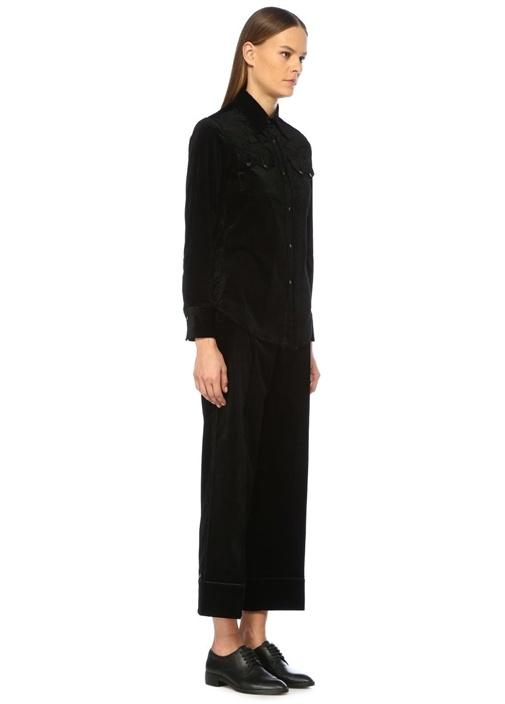 Teresa Siyah Şeritli Boru Paça Kadife Pantolon