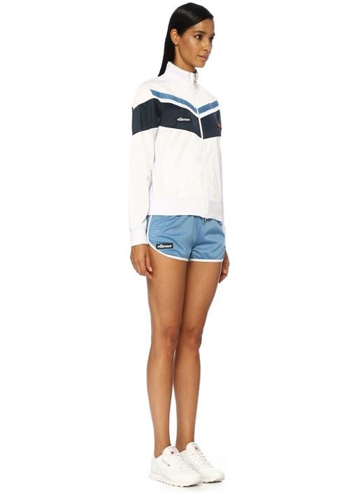 Daria Beyaz Dik Yaka Şeritli Fermuarlı Sweatshirt