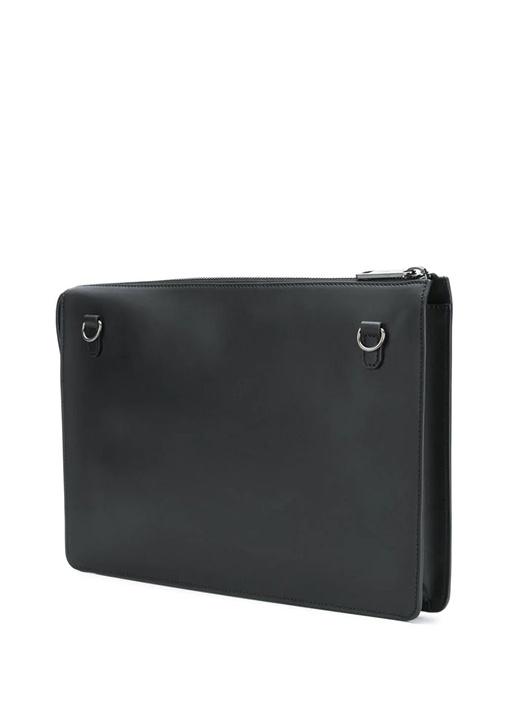 Siyah Logo Kabartmalı Erkek Deri Çanta