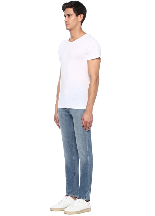 Slim Fit Mavi Normal Bel Dar Paça Jean Pantolon