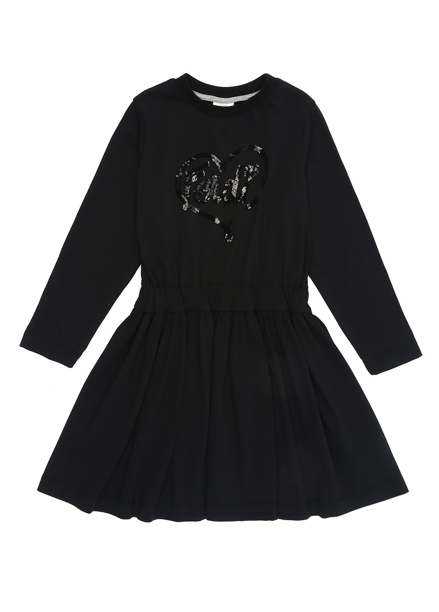 Fendi Siyah Bisiklet Yaka Payetli Kız Çocuk Elbise