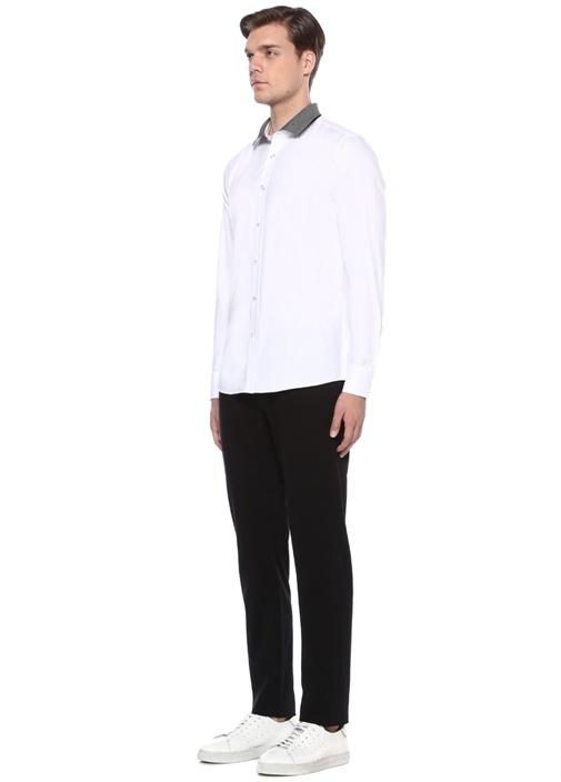 Beyaz Ribli Yaka Slim Fit Oxford Gömlek