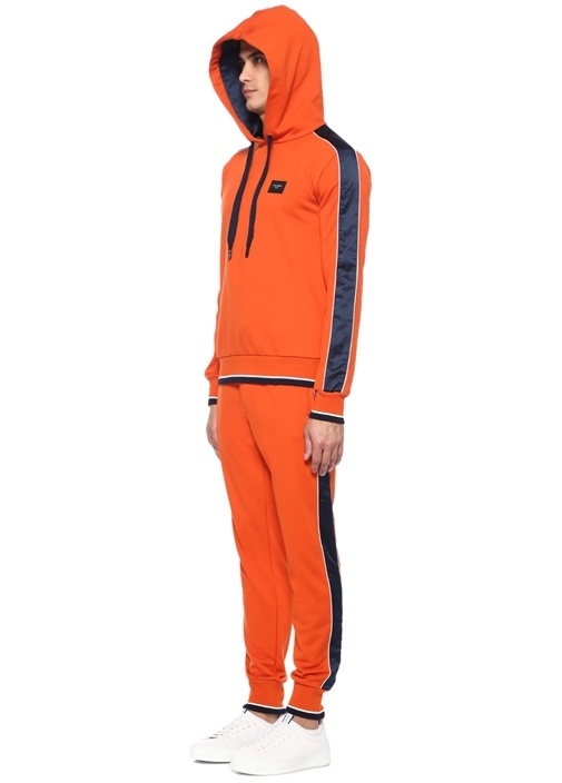 Turuncu Kapüşonlu Şerit Detaylı Sweatshirt
