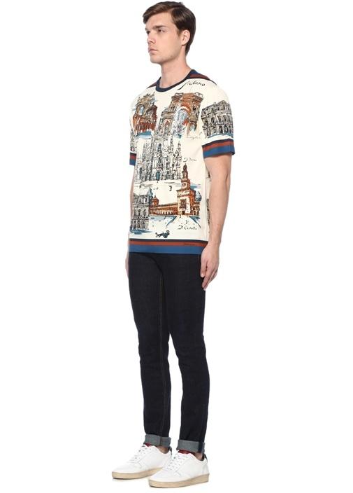 Ekru Baskılı Şerit Detaylı T-shirt
