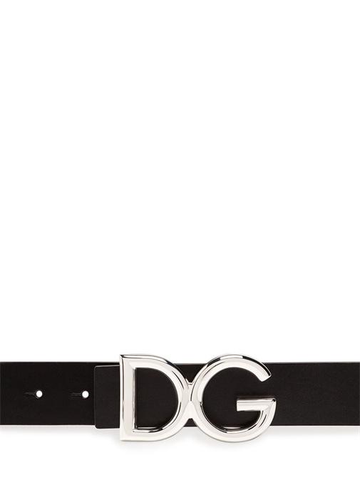 Siyah Silver Logolu Erkek Deri Kemer