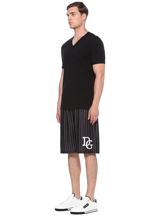 Siyah Logo Nakışlı Basic T-shirt