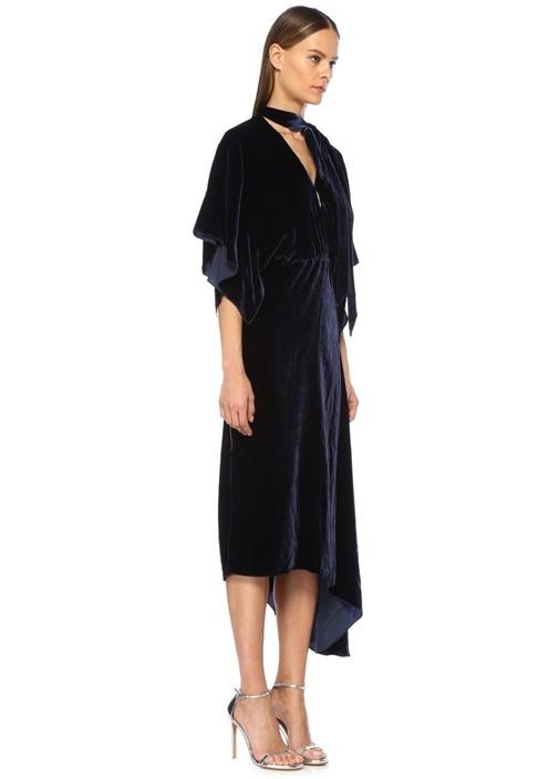 Lacivert Yakası Bağlamali Maxi Kadife Elbise