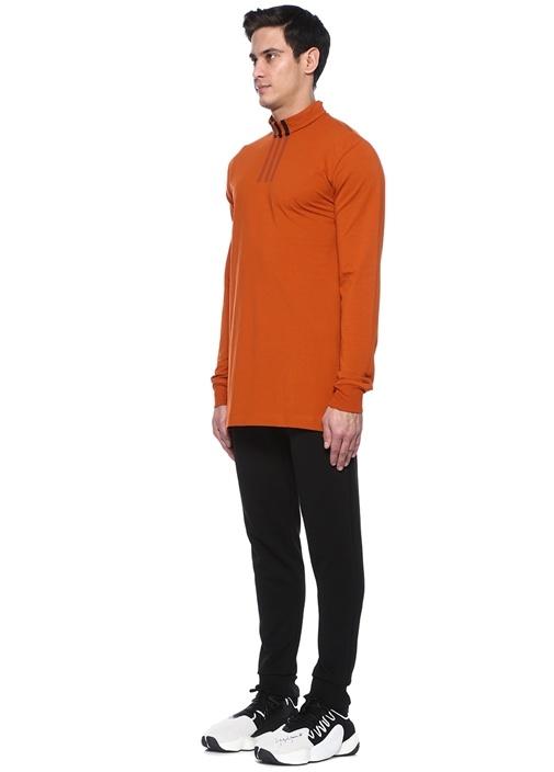 Turuncu Dik Yaka Şeritli Sweatshirt