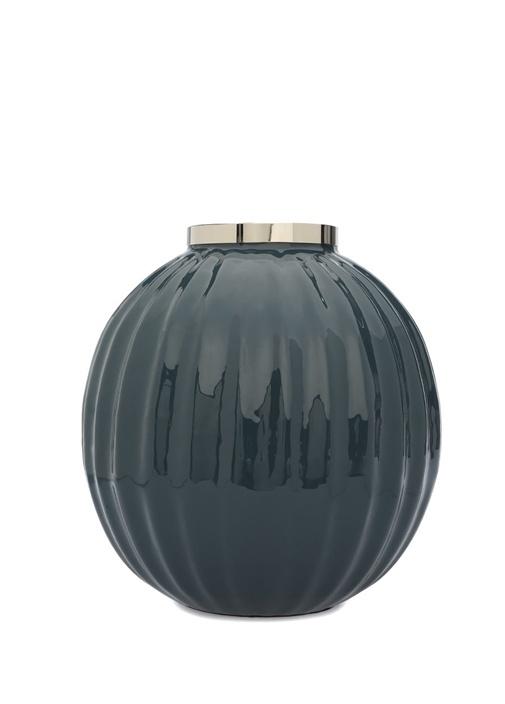 Enamel Lacivert Yuvarlak Formlu Porselen Vazo