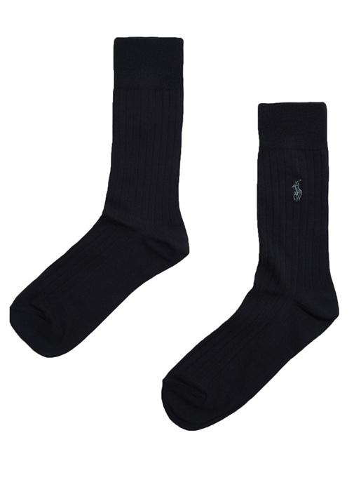 Siyah Logo Nakışlı 2li Erkek Çorap Seti