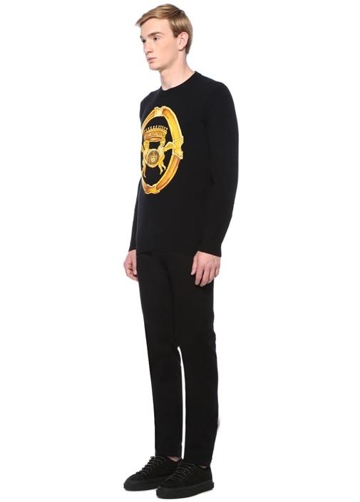 Siyah Logo Patchli Jean Pantolon